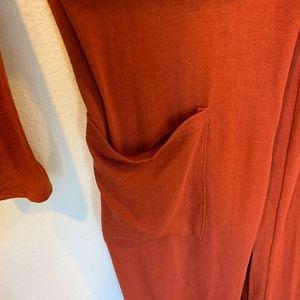 Amaryllis Sweaters - Amaryllis rust long duster cardigan